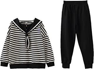 amropi Girl's Stripe Clothing Set Hooded Shirt and Jogging Pants 2PCS Outfits for 4-15 Years