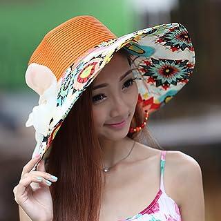 QYJpB-Hats Ladies Bucket Hat Sun Hat Summer Foldable Big Bowknot Hat, Floppy Beach Cap Wide Brim Hat Packable for Women (Color : Orange)
