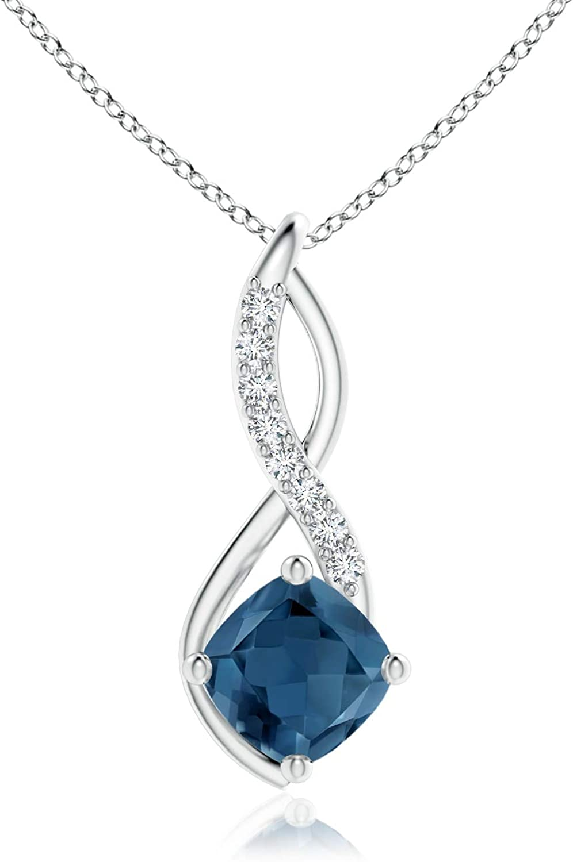 November Birthstone Regular store 5 popular - London Blue Topaz Infinity with Pendant Di