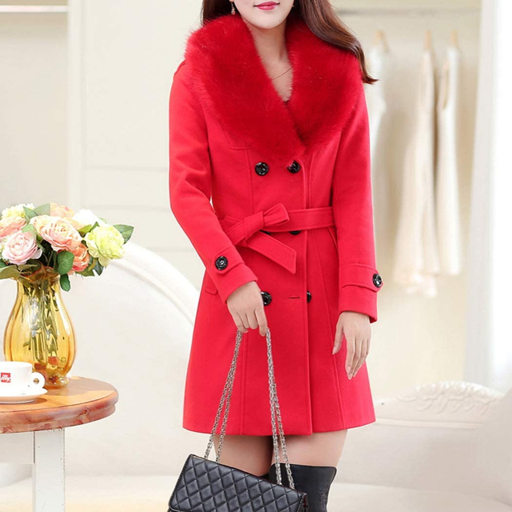 HANMAX Damen Mantel Elegant Trenchcoat Wintermantel Warm Gefüttert Revers Lange Ärmel Wollmantel Übergangsmantel Zweireihig Herbst Winter Rot