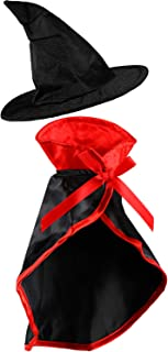 Frienda 2 Pieces Halloween Pet Costume Set, Include Pet Cape Vampire Costume Cloak and Pet Witch Hat for Cat Puppy Cosplay Party Supplies