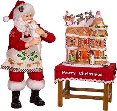 Kurt S. Adler Kurt Adler 10.5-Inch Battery-Operated Fabriche Decorating LED Gingerbread House Table Piece Santa, Multi