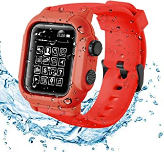 Compatible Apple Watch Series 6 /SE/5/4 44mm Waterproof Case , Tomcrazy IP68 Full Sealed Shockproof Cover with Soft Silicone Sport Band Watchstrap Protective Case for iWatch 44mm (Red)