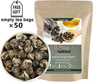 FullChea - Jasmine Pearl Tea - Jasmine Dragon Pearls - Loose Leaf Green Tea - Jasmine Green Tea with Delightful Aroma 4oz / 113g
