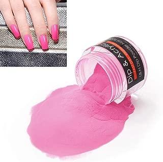 2 In 1 Nail Dip Powder & Acrylic Powder Hot Pink (Added Calcium Vitamin) I.B.N Fast Dry Dipping Powder Color, 1 Ounce/28g, No Need Nail Lamp Dryer (027)
