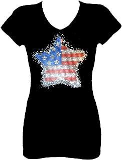 b33c76778 Rockeroo Boutique Star Flag July 4th Angel Wings Rhinestone V Neck Short  Sleeve Tee Shirt