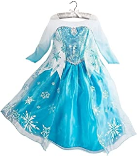 Frozen Queen Elsa Snow Snowflake Dress Girls Costume Cosplay
