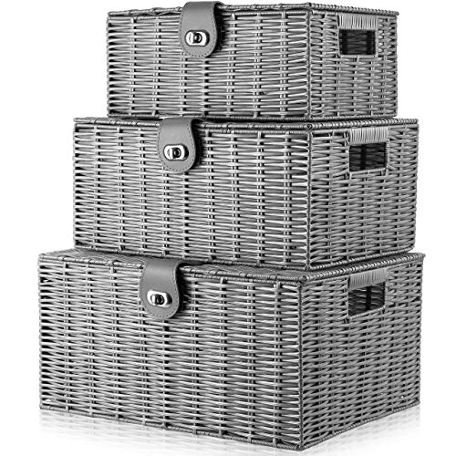 ARPAN Set of 3 Resin Woven Storage Basket Box With Lid & Lock Grey, Large, Medium, Small