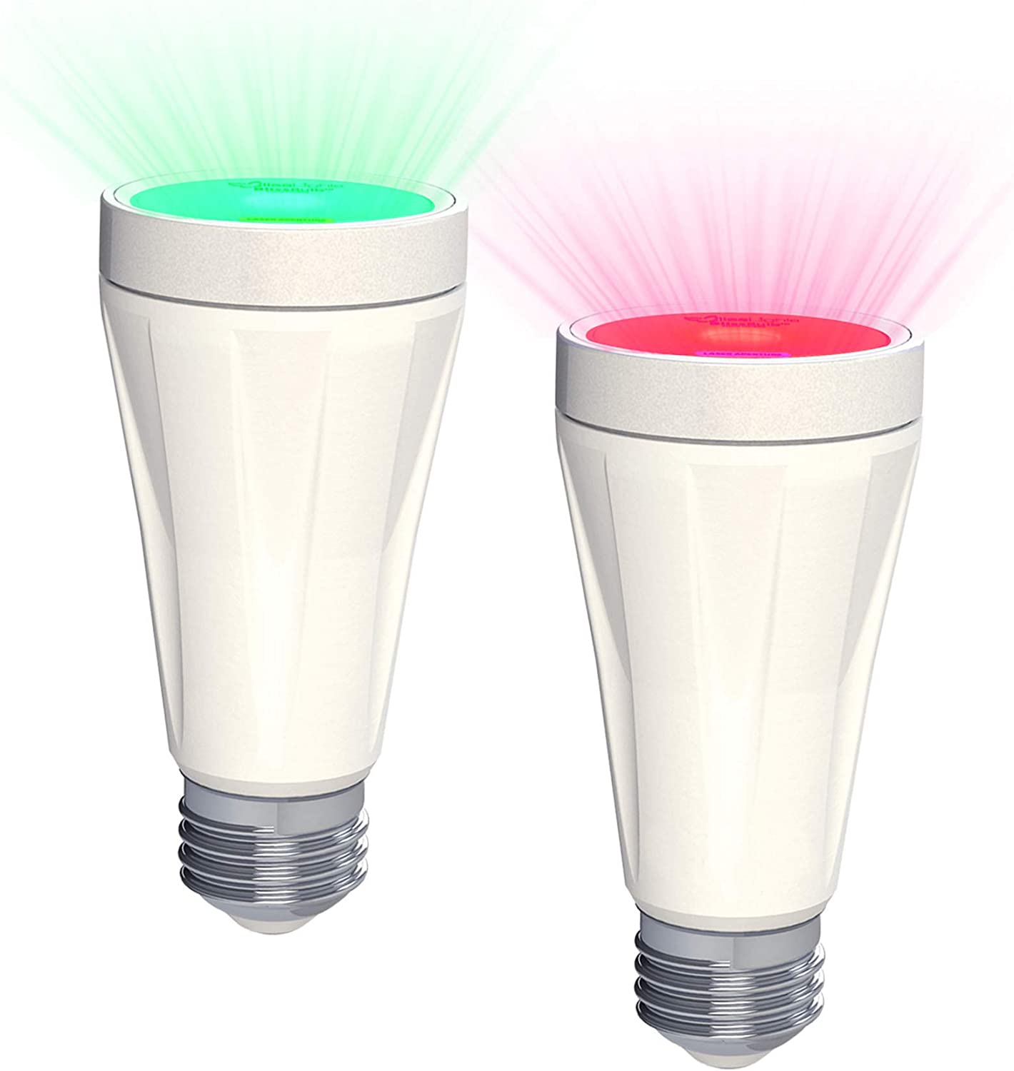 BlissLights BlissBulb - Laser Star Projector, Galaxy Lighting for Party, Holidays, Night Lights, Patios (Indoor/Outdoor, Standard E26 Base) - Red & Green