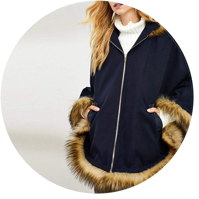 Summerlavender bluee Elegant Faux Fur Trim Poncho Hooded Solid Up Winter Coat Outerwear