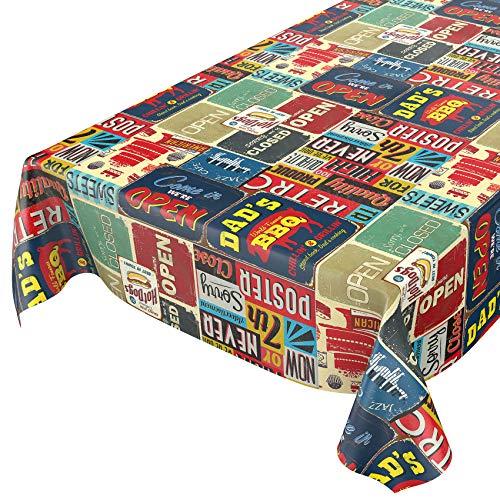 ANRO Wachstuch Tischdecke abwaschbar Wachstuchtischdecke Wachstischdecke Retro Cafe USA Amerika Style 160x140cm