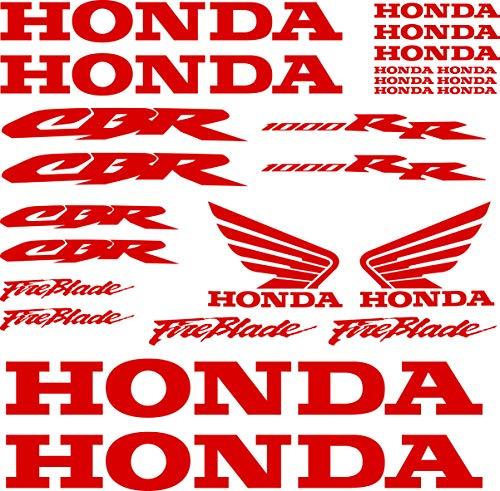 Kit Aufkleber Aufkleber Vinyl 7 Jahre Vogelmalerei Kompatibel mit Honda CBR 1000 RR Enthält 25 Aufkleber - Rot