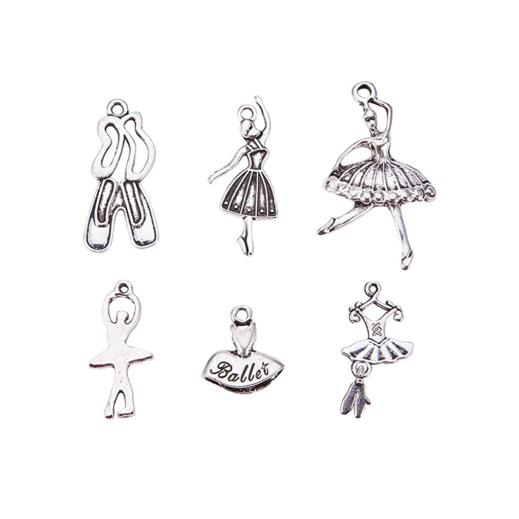 PH PandaHall 30pcs 6 Styles Ballet Theme Charms Antique Silver Alloy Pendants Charms for DIY Necklace Bracelet Jewelry Making