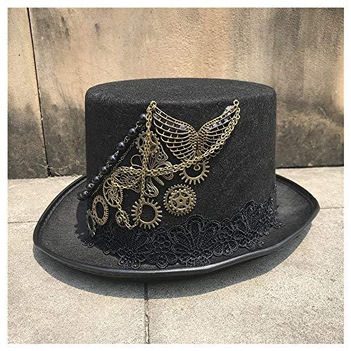 Sombrero Sombrero de Copa Steampunk Hecho a Mano de Alta Gama con Engranaje de Metal for Hombres Mujeres Sombrero mágico Bombín Sombrero de Fiesta Tamaño 57 cm WWTLKJ (Color :...
