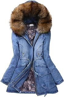 Macondoo Womens Winter Overcoat Thick Denim Faux Fur Hooded Parkas Coat