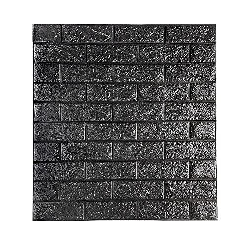 Papel pintado adhesivo diseño 3D, 10 paneles autoadhesivos de pared efecto ladrillo, pegatinas de colores, 77 x 70 cm, para paredes y techos de cocina, oficina y dormitorio (negro)