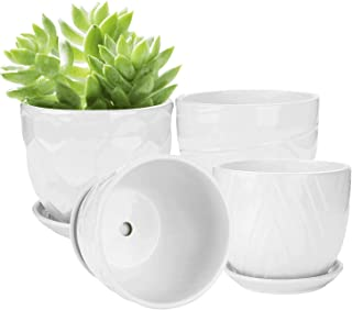 Brajttt Flower Pots and Transplanter 5.5 Inch Cylinder Ceramic Plant Pots with Connected Saucer, Planters for Succuelnt an...