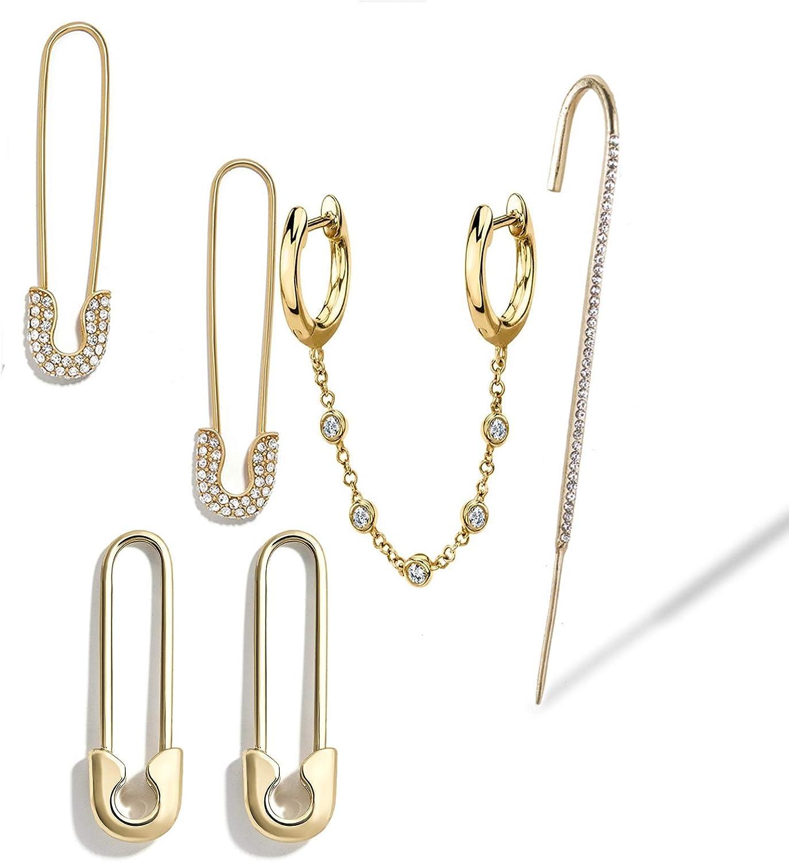 6 Popular Pcs Delicate Crystal Safety Pin Hoop Circle Kansas City Mall Punk Set Earrings
