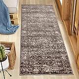Carpeto Rugs Läufer Teppich Flur Vintage Muster - Küchenläufer, Flurläufer, Küche, Schlafzimmer - Teppichläufer in vielen Größen - Kurzflor Used Look in Grau, Grösse: 60 x 200 cm