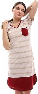 V-Neck Short Sleeves Striped Sleepshirt - Beige &