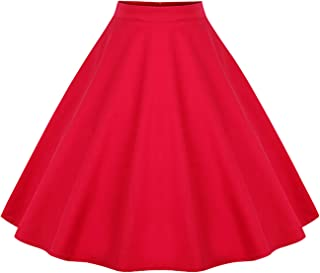 Women's Vintage Knee Length Flare Floral A Line Pleated Skirt