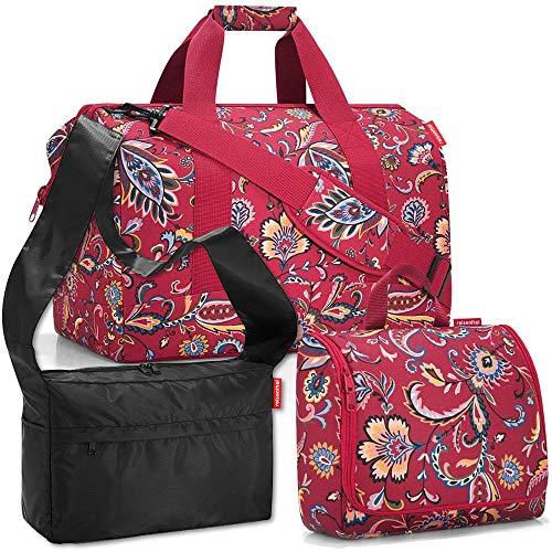 reisenthel Gilching reisenthel Allrounder L mit toiletbag XL und wahlweise mit extra Zugabe Reisetasche Waschtasche (Paisley Ruby+Black)