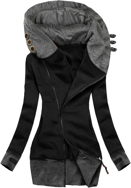 MDHANA Hoodie for Women's Comfortable Sweatshirt Soft Fleece Casual Coat Lightweight Active Thick Zip-Up Hoodie Jacket