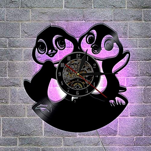 Meet Beauty Ding - Reloj de pared con diseño de animales y animales, luz de pared, 7 colores cambiantes, único, creativo, de vinilo