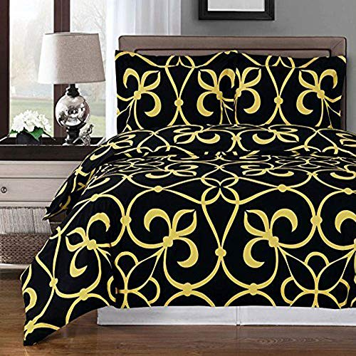Royal Tradition Black and Gold Victoria 3pc Full/Queen Comforter Cover (Duvet-Cover-Set) 100% Cotton 300 TC