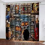 QWEFGDF Cortinas Opacas Reductoras de Ruido Cortinas Opacas con Ojales ,para Dormitorio Salon Moderna 2 x L117 x A138 cm Instrumento de percusión