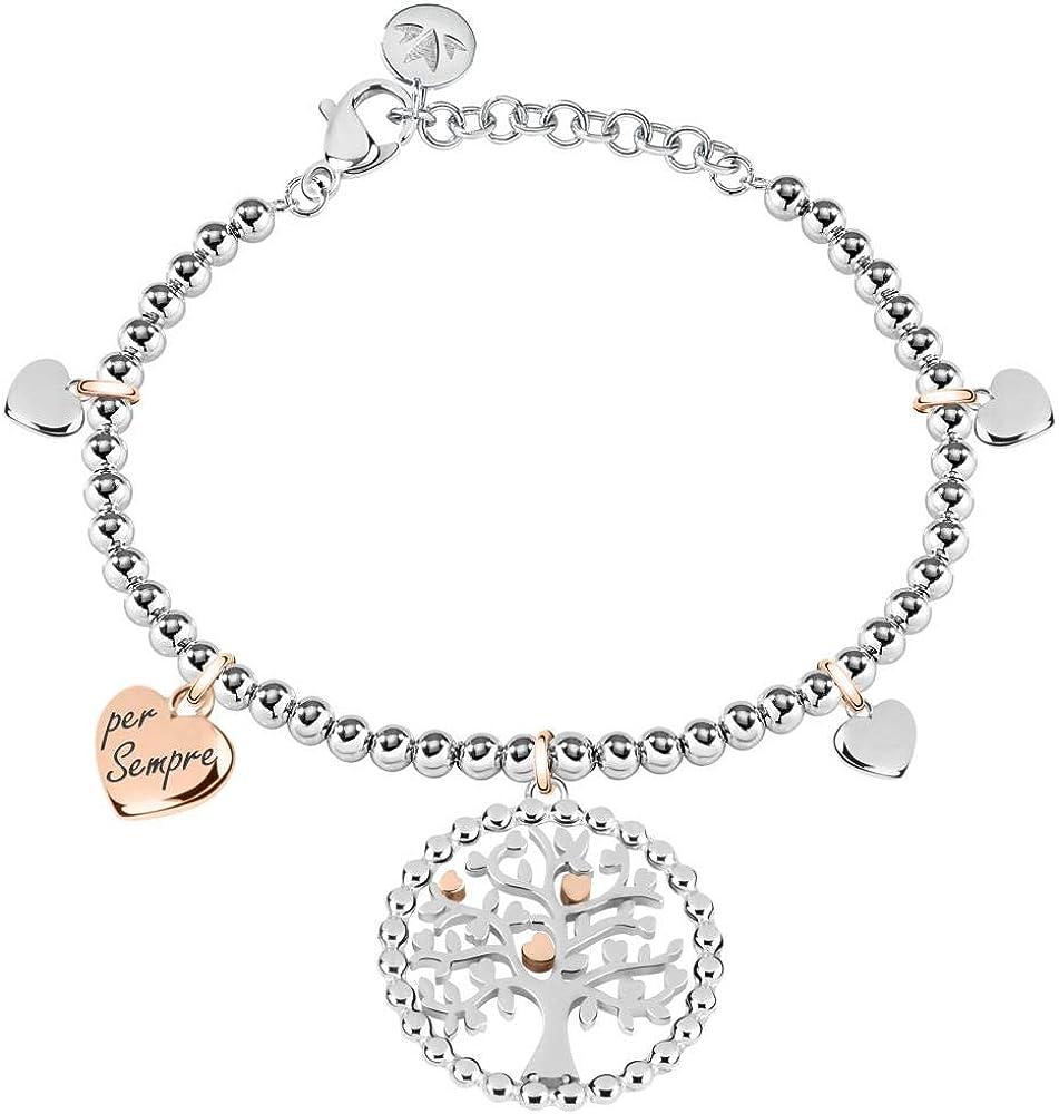 Morellato, bracciale da donna, collezione talismani, in acciaio inossidabile e pvd oro rosa. SAQE13