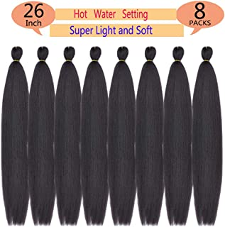 MSBELLE 8 Packs/Lot Pre-Stretched Synthetic Braiding Hair Hot Water Setting Synthetic Fiber Crochet Braiding Hair Extensions 26 Inch 70g/Pack(4#,Light Black)