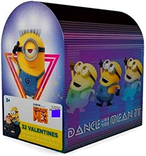 Kids Valentines Classroom Exchange Cards (Minions Despicable Me 3 Mailbox with 32 Cards and Seals)