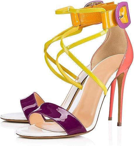 Sandales à Talons Hauts, Stiletto Cheville Bride Boucle Peep Toe Sandales Bloc Talon Ouverts Escarpins Sandales Habillées Plate-Forme Partie Chaussures Antidérapantes pour Femmes