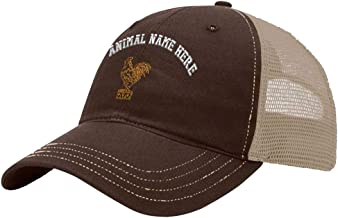 Custom Trucker Hat Richardson Rooster Outline Embroidery Animal Name Cotton