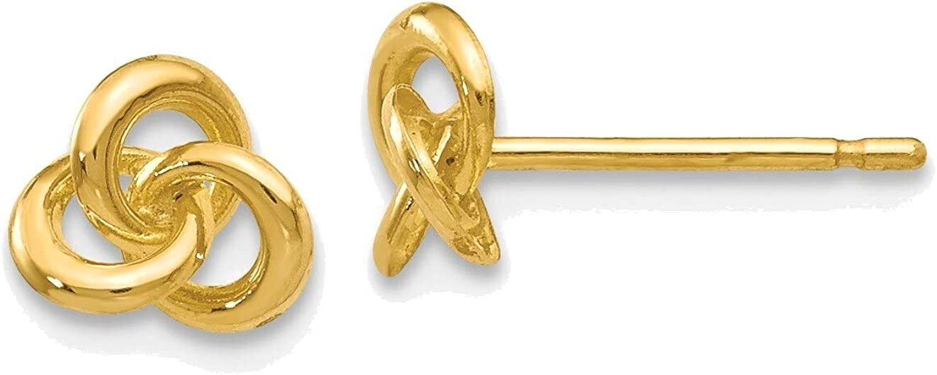 Polished Trinity Knot Post Earrings in 14K Yellow Gold