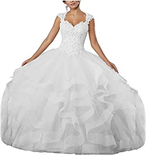Women's Ball Gown Ruffled Quinceanera Dress Cap Sleeves Lace Beaded Prom Gownor Party