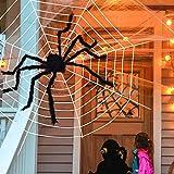 Telaraña de Halloween con araña gigante, tela de araña densa estirable de 200 pies cuadrados para decoraciones de interior y exterior de Halloween