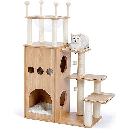 [Amazonブランド] Umi(ウミ) - 木製キャットタワー 木目調猫タワー 宇宙船ハンモック付き 猫ハウス二つ 多頭飼い 運動不足解消 頑丈耐久 お手入れ簡単 中敷クッション付き - ベージュ本体 130cm