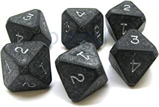 Chessex Opaque Black 8-Sided Die Numbered 1-4 Twice, 6 Dice