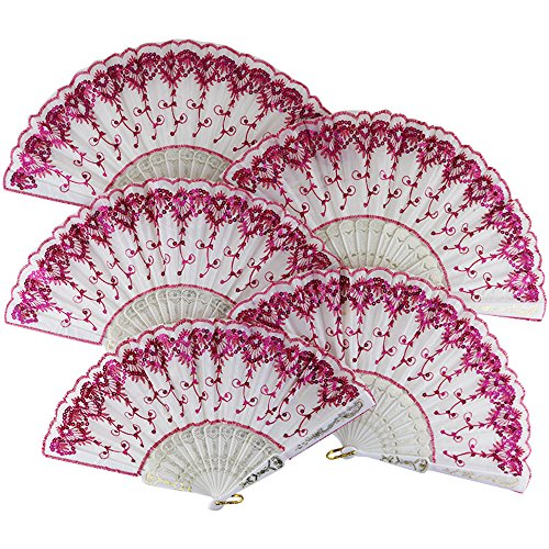 "Just Artifacts 9"" White w/ Decorative Sequin Embroidery Folding Silk Hand Fans (Set of 5, Fuchsia)"