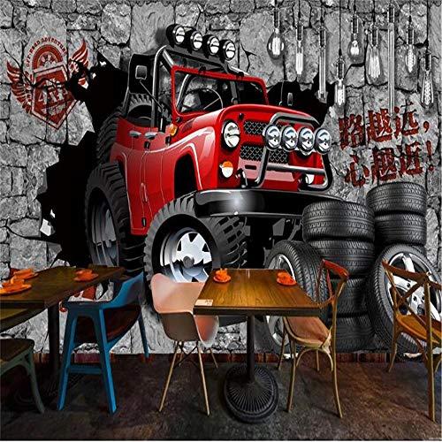 YIER LIFE 3D Pared de Fondo de TV Mural De Pared Múltiples tamaños y estilos, Simple elegante graffiti todoterreno automóvil pared rota Pegatinas de Pared extraíble 3D Póster Decoración de la Pared Ar