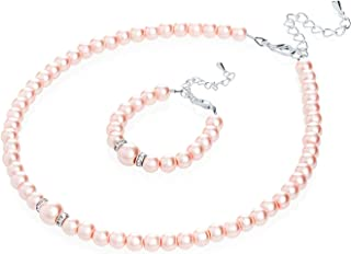Crystal Dream Elegant Pink Simulated Pearl Toddler Girl Necklace and Bracelet Stylish Gift Set (GS-P-P-All)