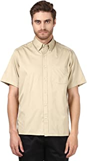 Colorplus Half Sleeve Regular Collar Classic Fit Light Fawn Cotton Solid Shirt for Men