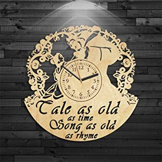 Beauty And Beast Wood Clock, Gift For Girl, Birthday Gift, Wall Clock Modern, Beauty And The Beast Clock, Wall Clock Modern, Beauty And Beast Wooden Clock, Cartoon Gift For Kids, Disney Wood Clock