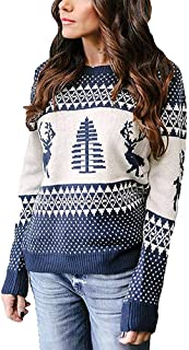 YEXIPO Women's Ugly Christmas Sweater Cute Reindeer Xmas Tree Knit Casual Long Sleeve Pullover Tops