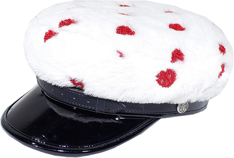 Women's Chic Breton Fiddler Cap Fashionable Plush Yacht Captain Sailor Hat Mariner Style Love Heart Beret Hats