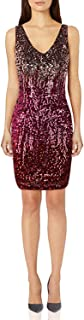 PrettyGuide Women's Deep V Neck Sequin Glitter Bodycon Stretchy Club Mini Party Dress