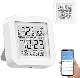 مانیتور رطوبت دما وای فای هوشمند: سنسور رطوبت بی سیم با کنترل TUYA APP ، رطوبت سنج دماسنج WiFi برای حمام خانگی گاراژ خانگی ، با Alexa کار می کند