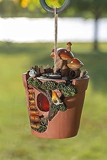 VP Home Flowerpot Bird House with Decorative Hand-Painted Mushroom Garden